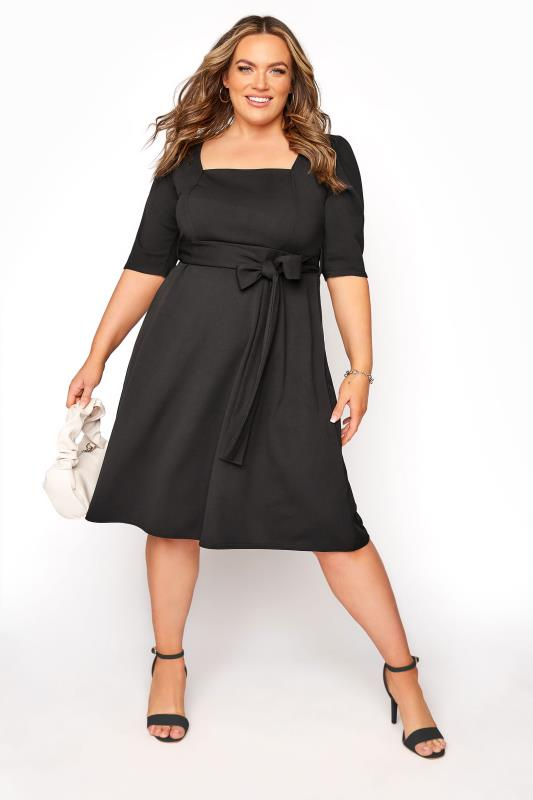 Plus Size  YOURS LONDON Black Square Neck Dress