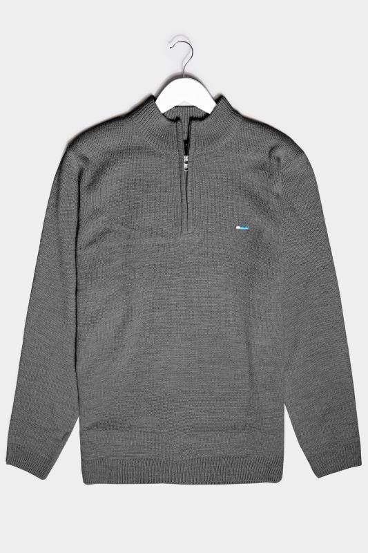 Men's  BadRhino Charcoal Grey Essential Quarter Zip Knitted Jumper