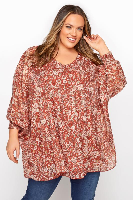 YOURS LONDON Rust Floral Batwing Sleeve Blouse_A.jpg