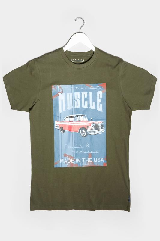 BadRhino Khaki American Muscle Car Graphic Print T-Shirt