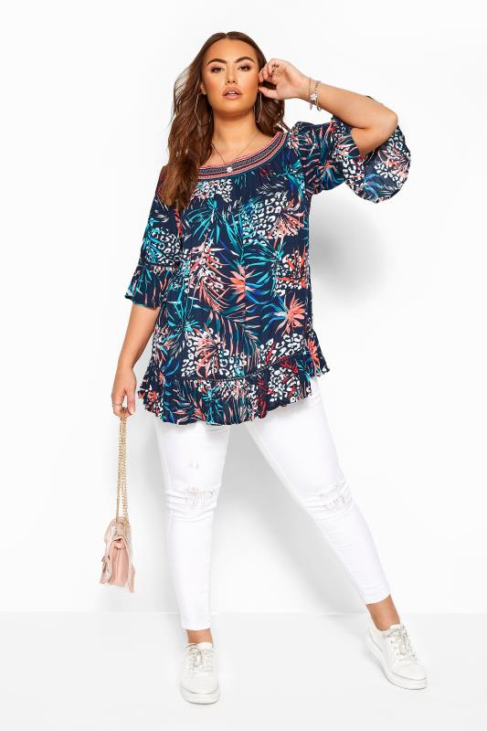 Navy Animal Tropical Print Shirred Bardot Top