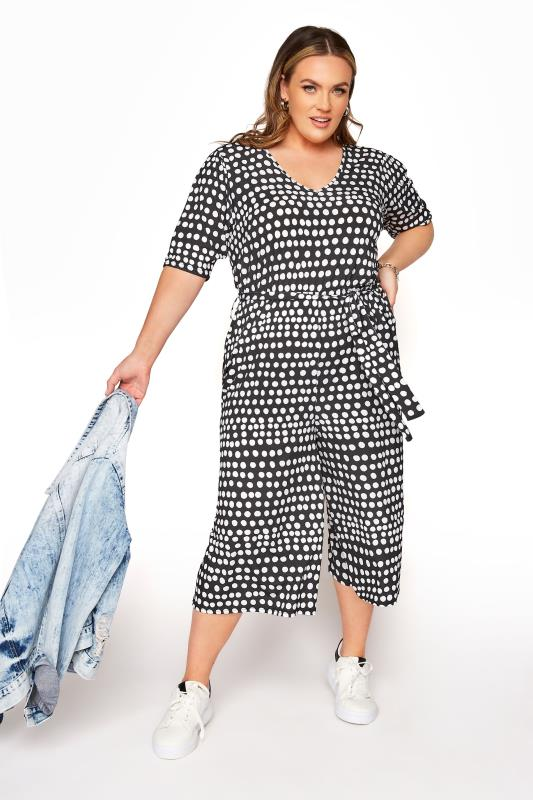 YOURS LONDON Black Polka Dot Culotte Jumpsuit_B.jpg