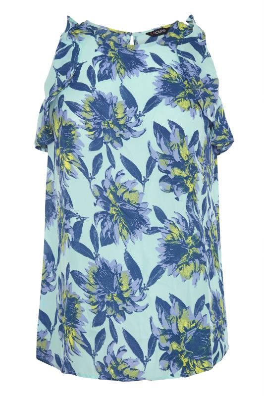 Blue Floral Frill Sleeve Top_F.jpg