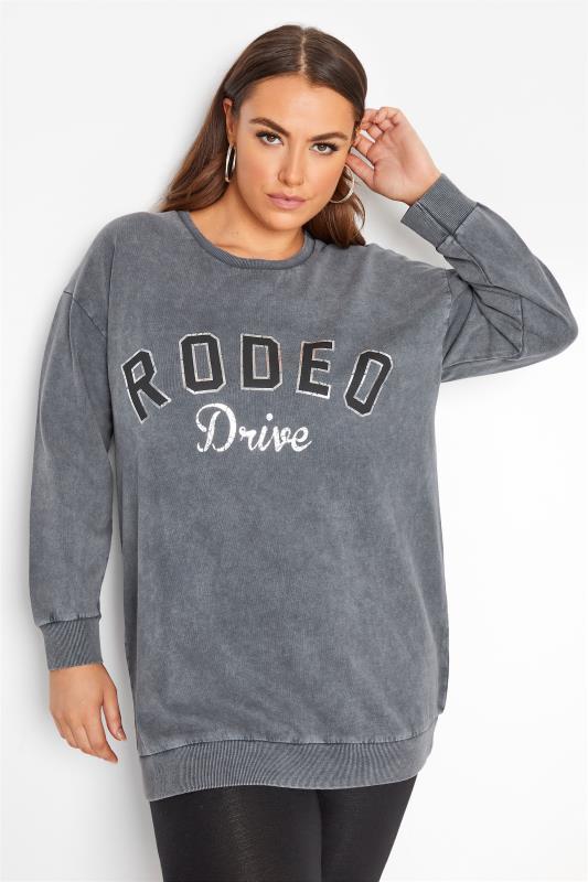 Plus Size  Grey Acid Wash 'Rodeo Drive' Sweatshirt