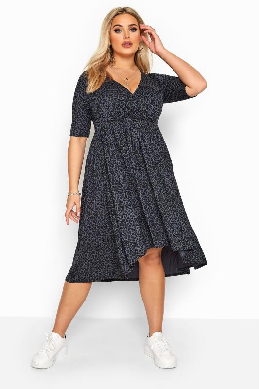 Plus Size Jersey Dresses Grey Leopard Print Dipped Hem Wrap Dress