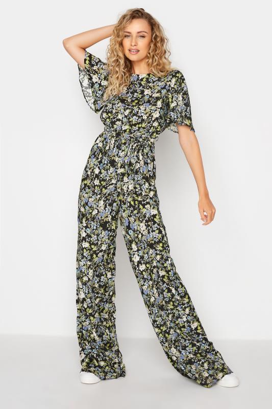 Tall  LTS Black Floral Print Wide Leg Jumpsuit