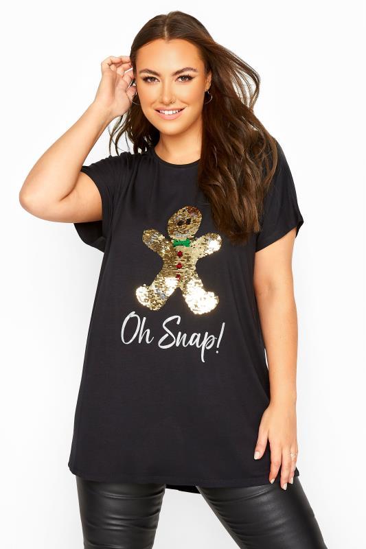 Großen Größen  Black Sequin Gingerbread 'Oh Snap' Slogan T-Shirt
