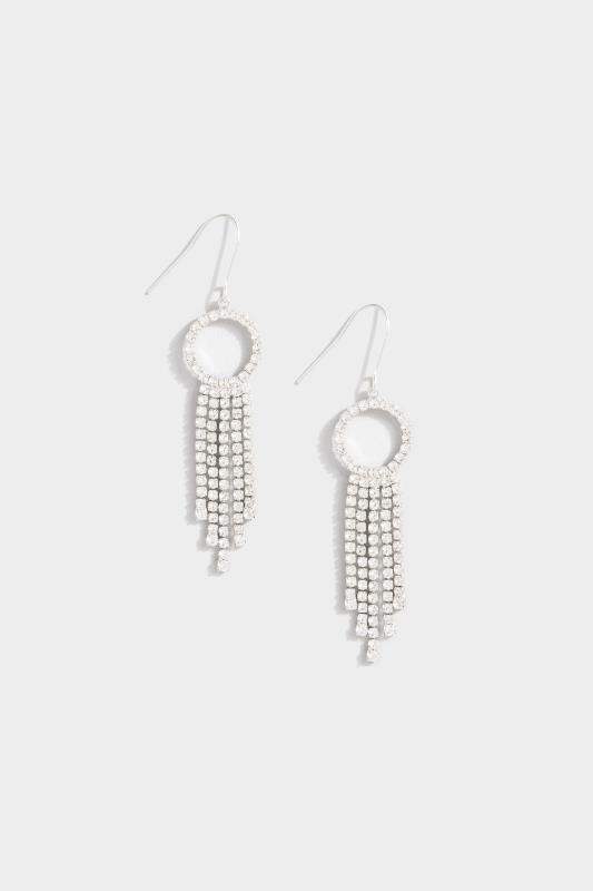 Silver Diamante Circle Tassel Earrings