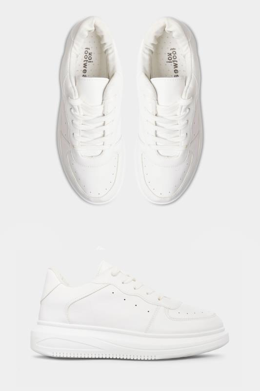 LIMITED COLLECTION White Platform Chunky Vegan Leather Trainers In Regular Fit