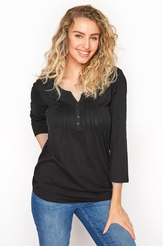 LTS Black Pleated Henley Top