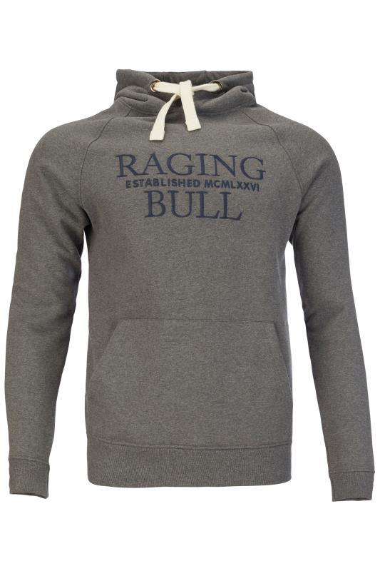 RAGING BULL Grey Logo Hoodie