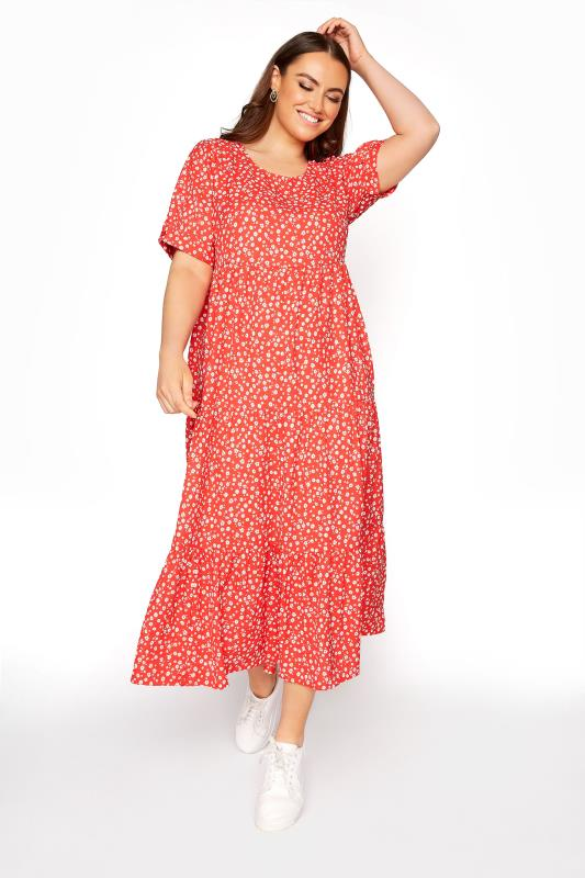 Plus Size  LIMITED COLLECTION Red Daisy Print Tiered Maxi Dress