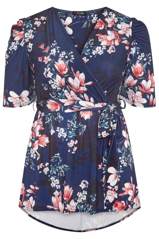 YOURS LONDON Midnight Blue Floral High Low Wrap Top_F.jpg