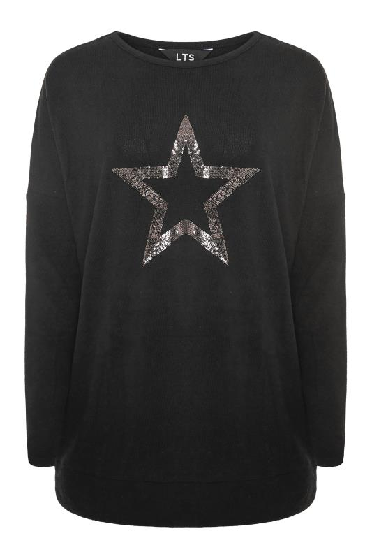 LTS Black Sequin Star Soft Touch Top_F.jpg
