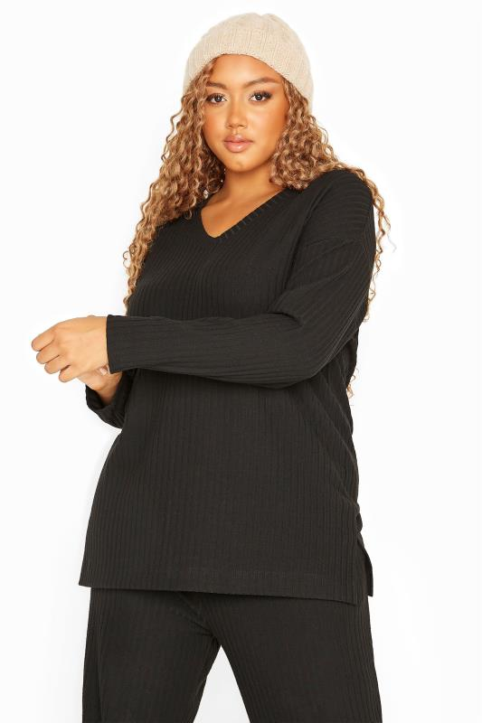 Plus Size  Black Ribbed Co-ord Lounge Top
