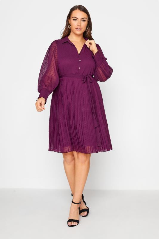 Tallas Grandes YOURS LONDON Purple Dobby Pleat Shirt Dress