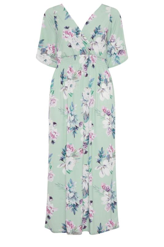 YOURS LONDON Green Floral Wrap Midaxi Dress_F.jpg