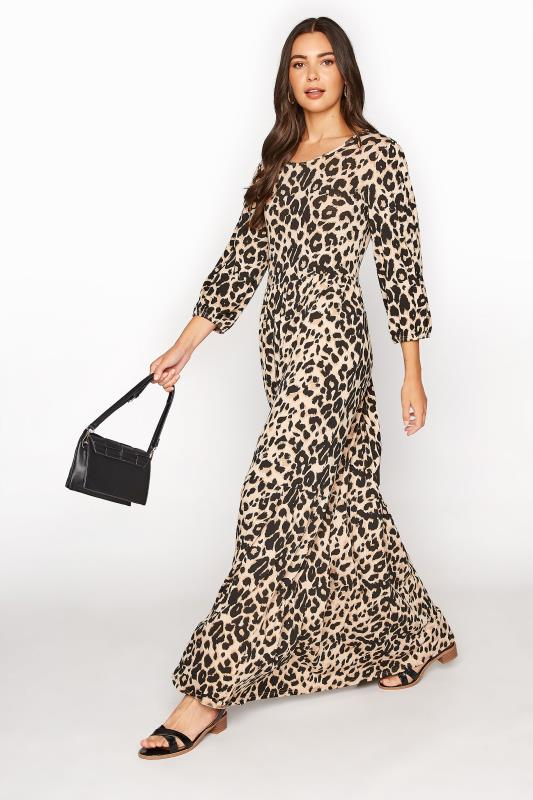 LTS Natural Leopard Print Smock Midaxi Dress