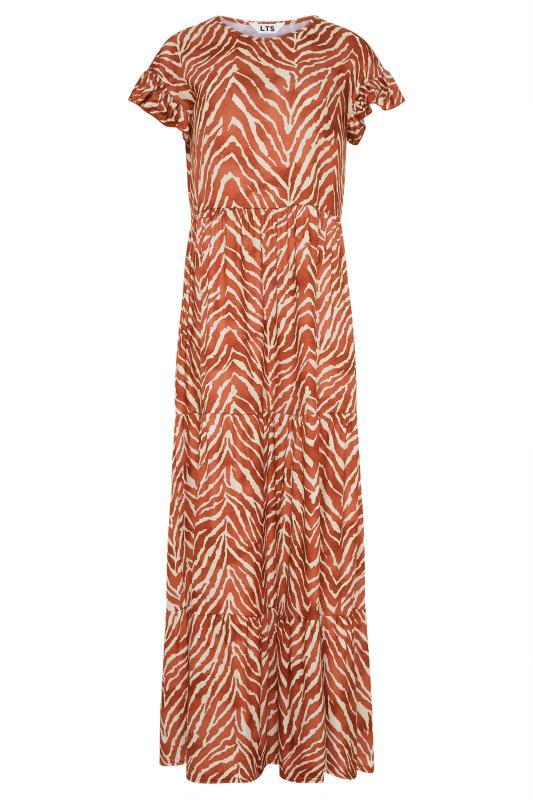 LTS Rust Zebra Print Tiered Midaxi Dress_F.jpg