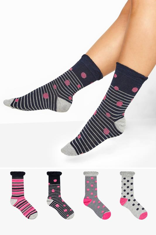 Plus Size  4 PACK Navy Spot & Stripe Socks