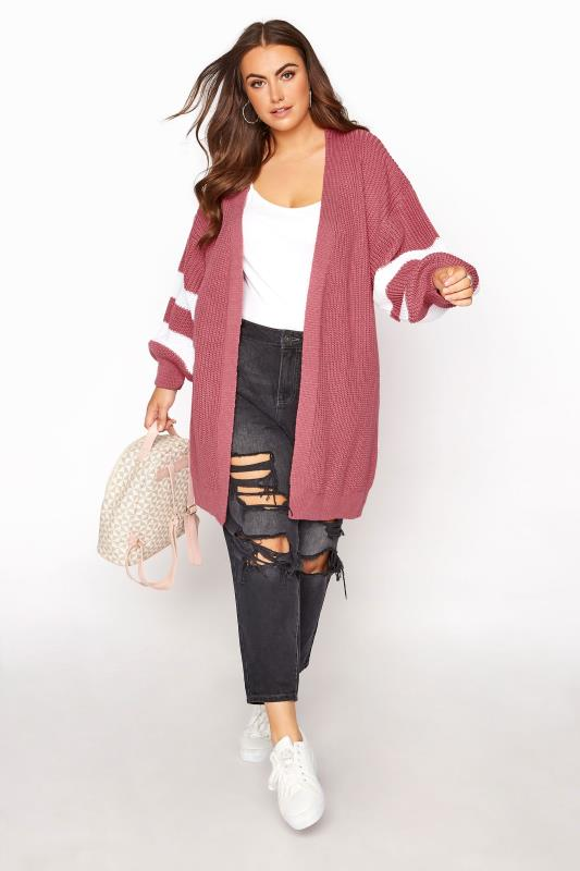 Pink Varsity Stripes Knitted Cardigan_B.jpg