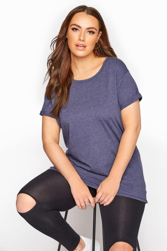 Plus Size  Navy Topstitch Short Sleeve T-Shirt
