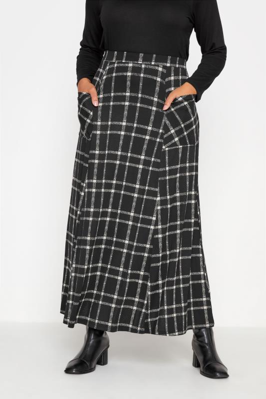 Plus Size  Black Check Maxi Skirt