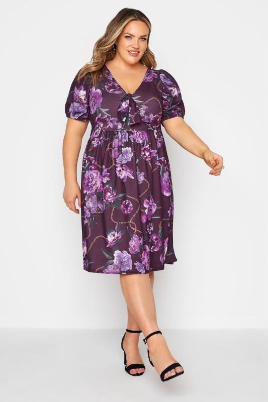 YOURS LONDON Purple Floral Bow Front Dress_B.jpg