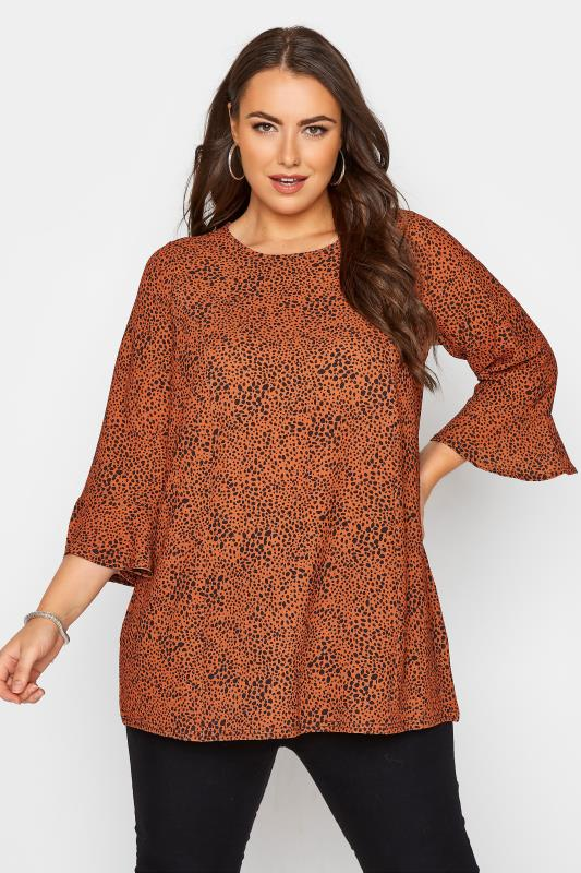 YOURS LONDON Rust Brown Dalmatian Flute Sleeve Blouse_A.jpg