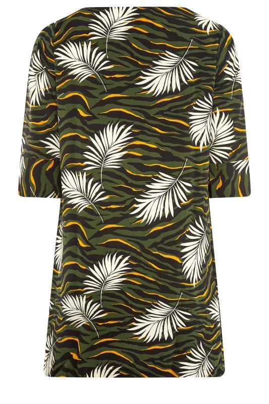 Khaki Tropical V-Neck Shift Dress_BK.jpg