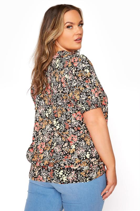 YOURS LONDON Black Floral Shirred Frill Top_C.jpg