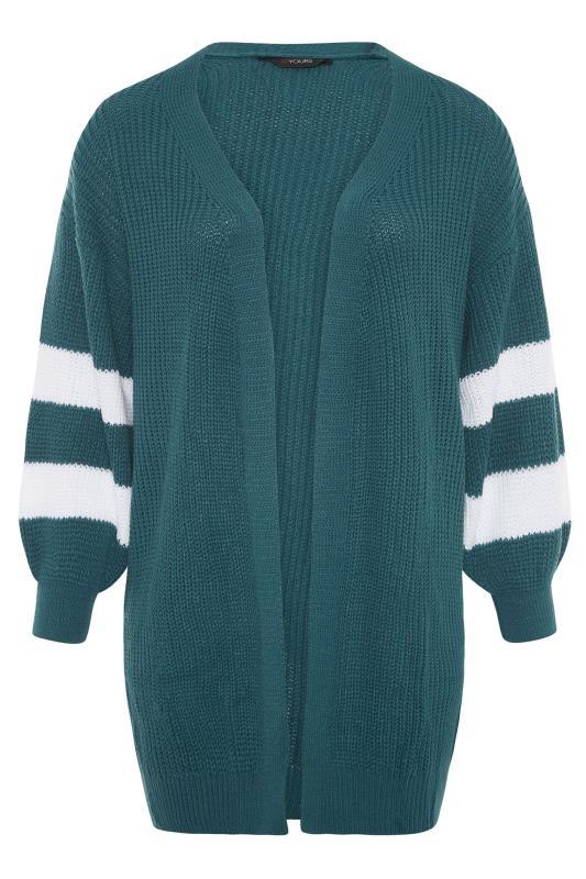 Teal Green Varsity Stripes Knitted Cardigan_F.jpg