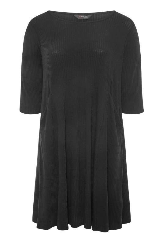 Black Ribbed Drape Pocket Dress_F.jpg
