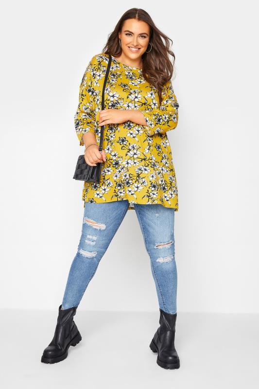 Yellow Floral Split Hem Tunic_B.jpg