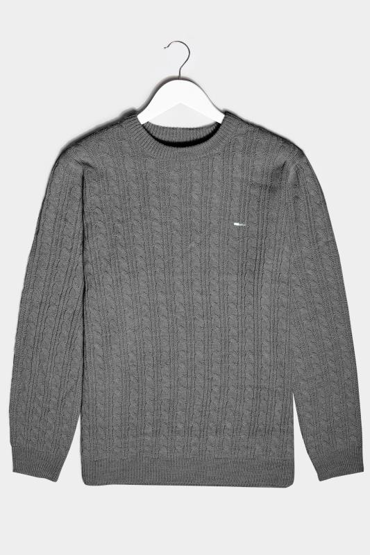 Men's  BadRhino Charcoal Grey Essential Cable Knitted Jumper