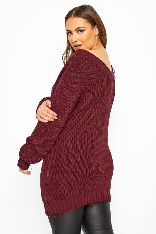 Burgundy Distressed Oversized Knitted Jumper