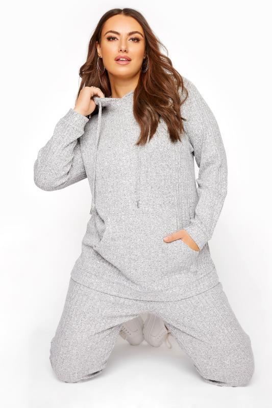 Plus Size  Grey Marl Soft Hooded Co-ord Lounge Hoodie