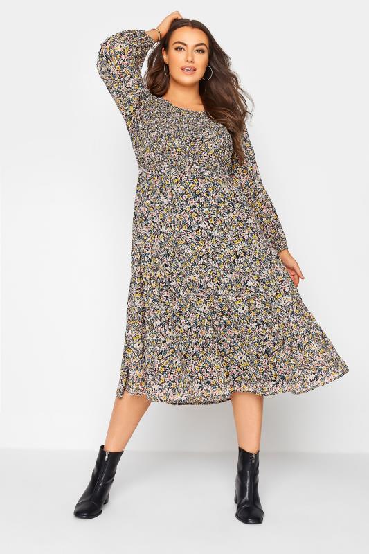 Plus Size  Navy Floral Shirred Midi Dress