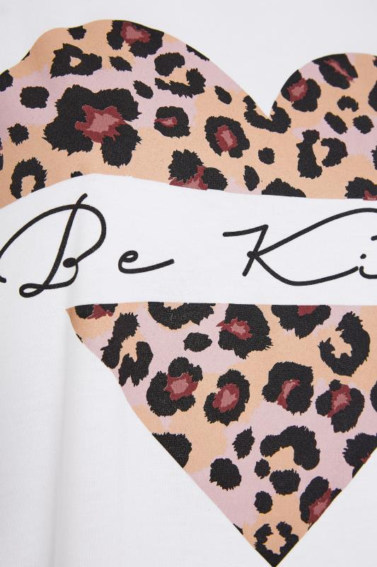 LIMITED COLLECTION White 'Be Kind' Leopard Heart T-Shirt_s.jpg