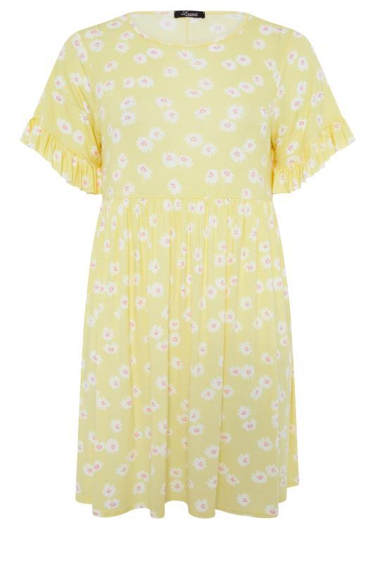 Lemon Yellow Floral Print Short Frill Sleeve Dress_f.jpg
