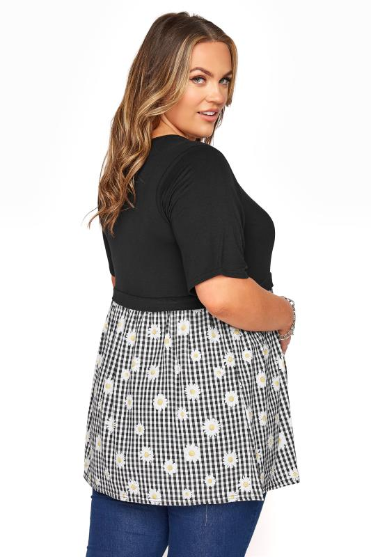 BUMP IT UP MATERNITY Black Gingham Floral Contrast Top_C.jpg