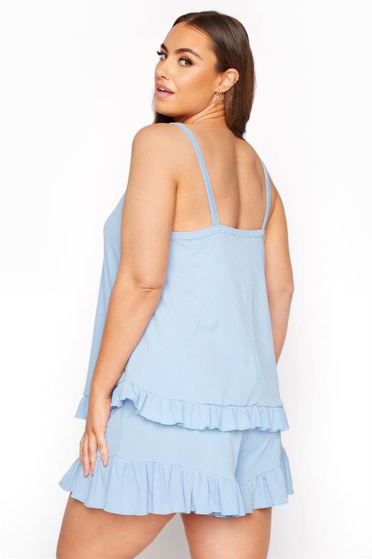 LIMITED COLLECTION Light Blue Frill Ribbed Pyjama Shorts_C.jpg