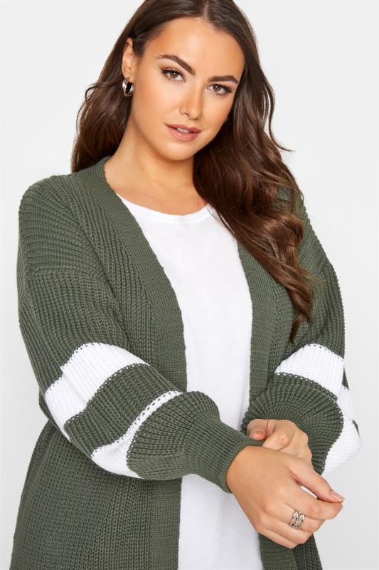 Khaki Varsity Stripes Knitted Cardigan_D.jpg