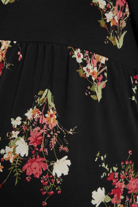BUMP IT UP MATERNITY Black Floral Milkmaid Midi Dress_S.jpg