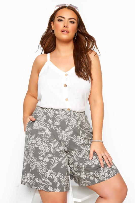 Plus Size Jersey Shorts Khaki Leaf Print Jersey Shorts