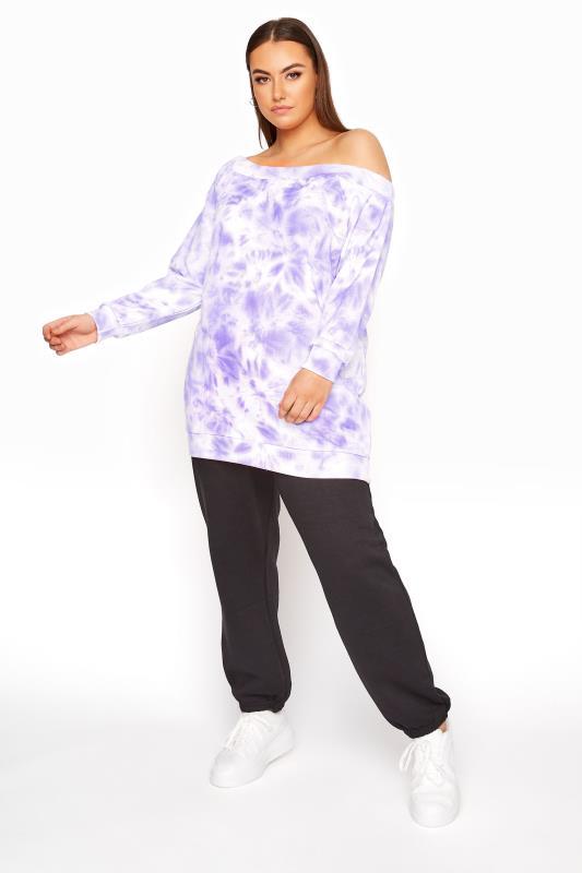 Lilac Tie Dye One Shoulder Sweatshirt