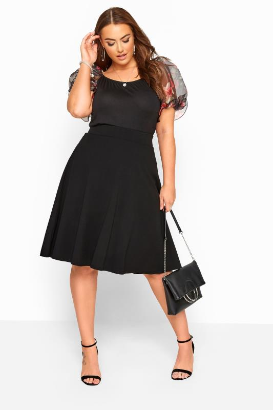 YOURS LONDON Black Scuba Flared Skater Skirt