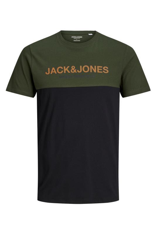 Men's  JACK & JONES Khaki Colour Block T-Shirt