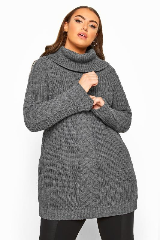 Plus Size Jumpers Charcoal Grey Cable Knit Longline Jumper