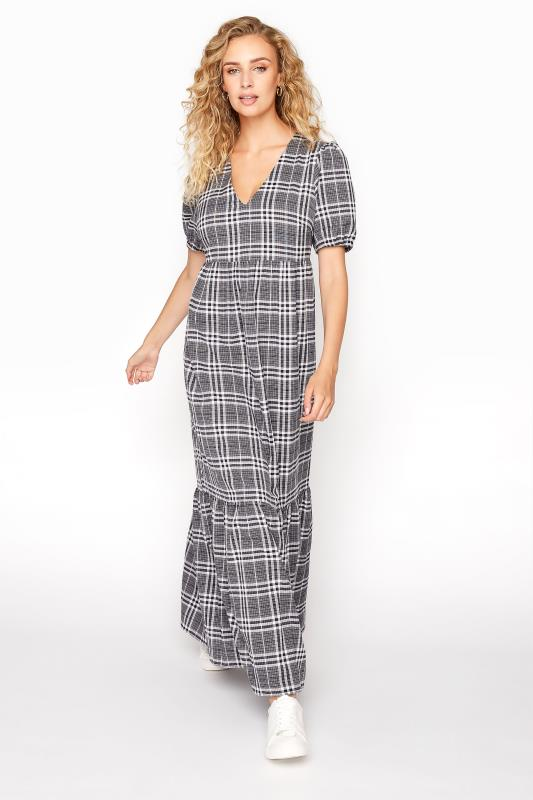 LTS Black Check Tiered Smock Midaxi Dress